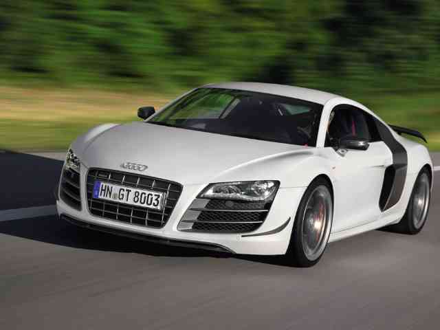 2011 Audi R8 GT - 2011 Audi R8 GT will have V10 FSI engine with max power of 560 hp and max torque of 540 Nm. Audi R8 GT has been made 100 kg lighter than standard. The Audi R8 GT can accelerate 0-100 km/h in 3.6 secon... Audi Cars models, news, information, reviews and pictures.