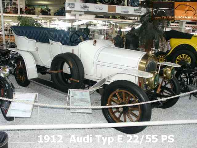 1912 Audi Type E22 55 - 1912 Audi Type E22 55 engine was 4 cylinder with 2 valves per cylinder. It had max power of 55 hp, m...